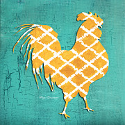 Rooster Kitchen Art Prints - Elegant Decorative Kitchen Art Ikat Rooster Pattern Print by Megan Duncanson