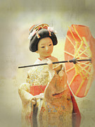 Lady With Red Umbrella Framed Prints - Elegant Japanese Geisha Doll Framed Print by Renee Forth Fukumoto