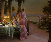 Table Lamp Framed Prints - Elegant Ladies Taking Tea Framed Print by Delphin Enjolras