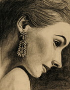 Diamond Drawings Prints - Elegant Profile Print by Caroline  Reid
