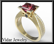 Black Ring Jewelry Originals - Elegant Red Ruby And Diamond 14k Yellow Gold Engagement Ring by Roi Avidar
