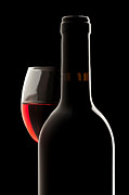 Wine-bottle Prints - Elegant red wine bottle and wine glass Print by Jose Elias - Sofia Pereira