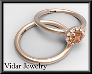 14k Jewelry - Elegant Sapphire And Diamond 14k Wedding Ring And Engagement Ring Set by Roi Avidar