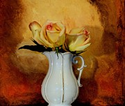 Pitcher Digital Art - Elegant Triple Roses by Marsha Heiken