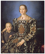 Duchess Paintings - Eleonora ad Toledo Grand Duchess of Tuscany by Agnolo Bronzino