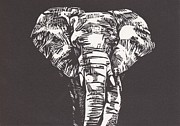 Lino Mixed Media Posters - Elephant Poster by Alexis Sobecky