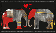 Juvenile Wall Decor Mixed Media Metal Prints - Elephant Alphabet Love - Children Decor Metal Print by Anahi DeCanio