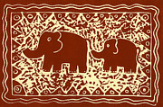 Lino Mixed Media Posters - Elephant and calf lino print brown Poster by Julie Nicholls