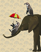 Wall Art Greeting Cards Digital Art Posters - Elephant And Penguins Poster by Kelly McLaughlan