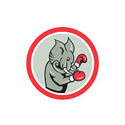 Elephant Boxer Boxing Circle Cartoon Print by Aloysius Patrimonio