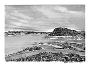 Lakes Drawings - Elephant Butte Lake NM by Jack Pumphrey