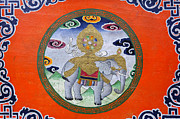 Religious Art Photos - Elephant illustration at the Buddhist Labrang Monastery in Sikkim India by Robert Preston