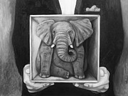 Leah Saulnier The Painting Maniac - Elephant In A Box bw