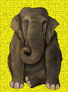 Prehistoric Paintings - Elephant In Gold by Leah Saulnier The Painting Maniac