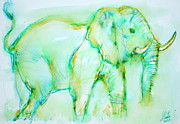 Fang Framed Prints - ELEPHANT in GREEN Framed Print by Fabrizio Cassetta