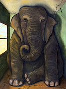 Surreal Metal Prints - Elephant In The Room Metal Print by Leah Saulnier The Painting Maniac
