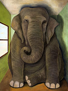 Thinker Paintings - Elephant In The Room WIP by Leah Saulnier The Painting Maniac