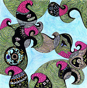 Salmon Drawings Posters - Elephant lotus and bird design Poster by Mukta Gupta