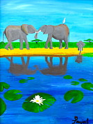 Family Love Paintings - Elephant Love by Artistic Indian Nurse