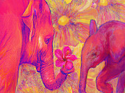Mammals Digital Art Prints - Elephant Love Print by Jane Schnetlage