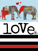 Juvenile Wall Decor Mixed Media Framed Prints - Elephant Love Typography  Framed Print by Anahi DeCanio