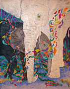 Embracing Painting Posters - Elephant Magic Poster by Karen Friedland
