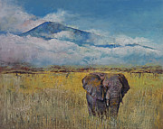 Abstract Wildlife Paintings - Elephant by Michael Creese