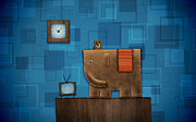 Abstract Digital Art - Elephant on the Wall by Sanely Great