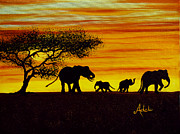 Elephant Paintings - Elephant Silhouette by Adele Moscaritolo