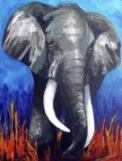 Indian Yellow Paintings - Elephant - The Gentle by Patricia Awapara