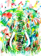 Tusk Painting Posters - ELEPHANT - watercolor portrait Poster by Fabrizio Cassetta