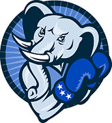 Tisk Posters - Elephant With Boxing Gloves Democrat Mascot Poster by Aloysius Patrimonio