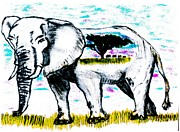 World Series Pastels Prints - Elephant World Print by Shaunna Juuti