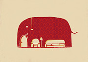 Red Wallpaper Framed Prints - Elephanticus Roomious Framed Print by Budi Satria Kwan