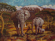 Paris Wyatt Llanso Metal Prints - Elephants and Kilimanjaro Metal Print by Paris Wyatt Llanso
