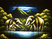 Lake Tapestries - Textiles Originals - Elephants and mountains by Community in Sri Lanka