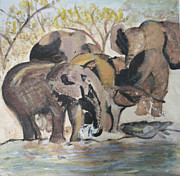 Herd Of Elephants Posters - Elephants at a River Poster by Zeni Shariff