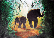Elephants At Night Print by Saranya Haridasan