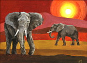 Shades Of Red Painting Framed Prints - Elephants at Sunset Framed Print by Jan Mecklenburg