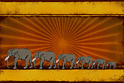 India Mixed Media Metal Prints - Elephants Metal Print by Bedros Awak