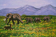 Herd Of Elephants Posters - Elephants in a Valley Poster by Zeni Shariff