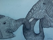 Elephants Drawings - Elephants by Jasmine San Juan
