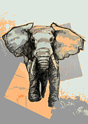 Tusk Posters - Elephants Laugh Poster by Alison Schmidt Carson
