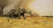 Herd Of Elephants Posters - Elephants Moving Before A Fire Poster by Friedrich Wilhelm Kuhnert