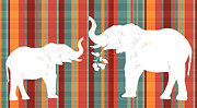 Apple Art Posters - Elephants Share Poster by Alison Schmidt Carson