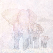 Tropical Sunset Prints - Elephants - Sketch Print by John Edwards