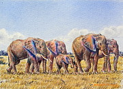 Herd Of Elephants Posters - Elephants Walking Poster by Joseph Thiongo