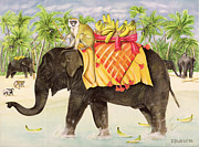 Jungle Animals Paintings - Elephants with Bananas by EB Watts