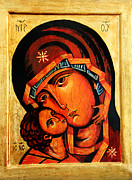 Byzantine Icon Prints - Eleusa icon Print by Ryszard Sleczka