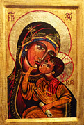 Theotokos Paintings - Eleusa II Icon by Ryszard Sleczka
